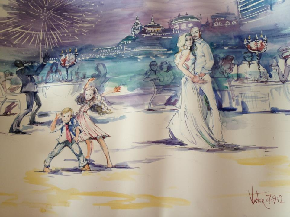 Nice aquarelle for a wedding in Monte-Carlo