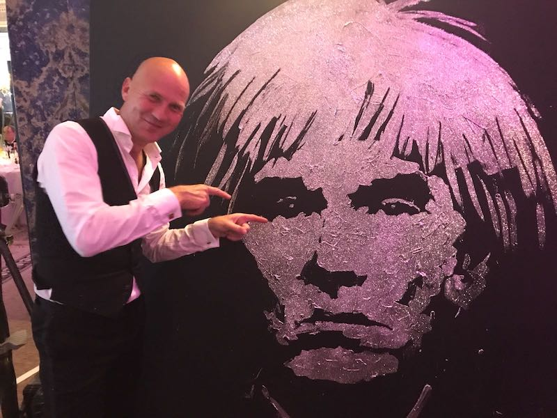 art ball performance in london, art ball show, art ball painting, andy warhol, andy warhol portrait