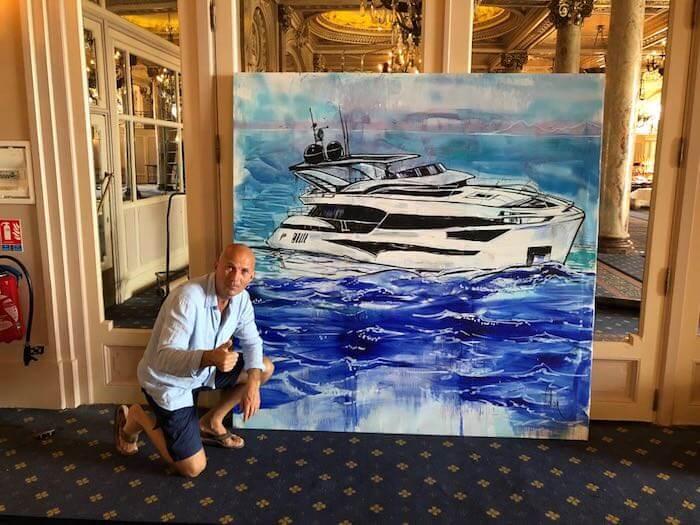 yacht entertainment, yach, yachting show, splash paitning, splash painting artist