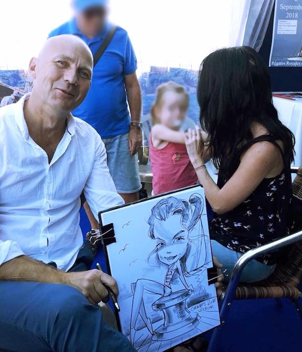 caricature, caricatures, côte d'azur, cannes, association, sourire et partage, kids, children, cancer, street,